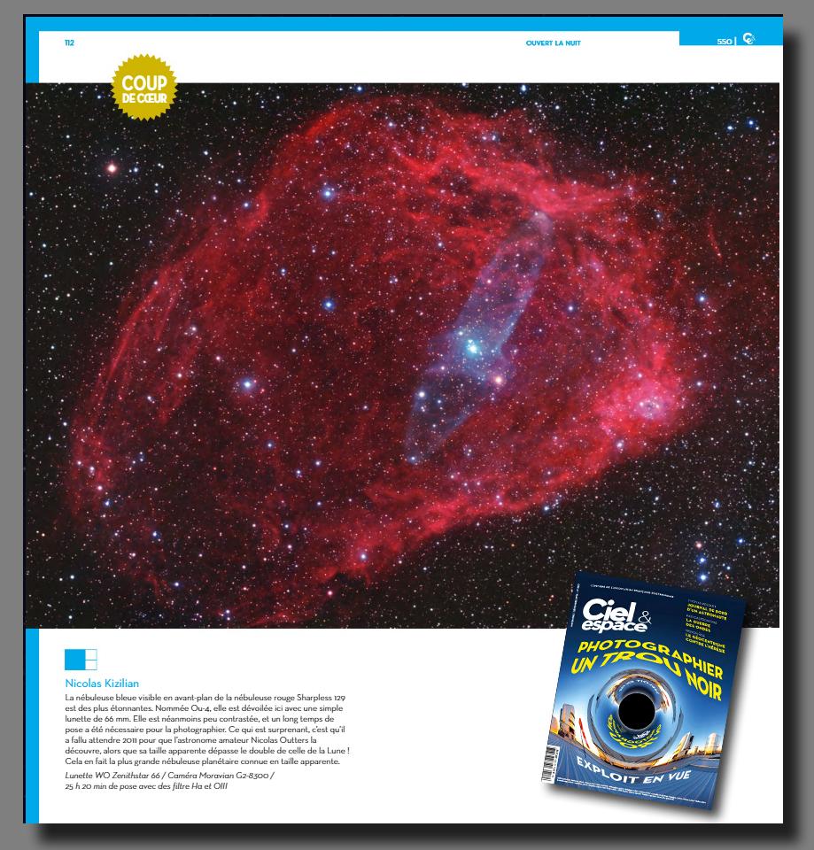 """Sh2-129 et Ou4, image """"Coup de Cœur"""" du magazine Ciel et Espace de Novembre/Décembre 2016."""