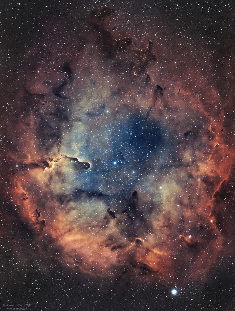 IC1396 et La Nébuleuse de la Trompe d'Éléphant [Narrowband Ha/OIII] Ic1396-Kizilian-800-WM