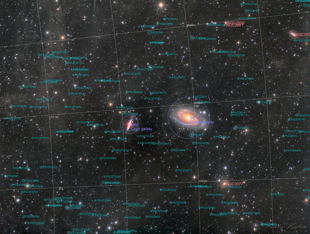 Du ciel profond à la Petite Ourse (et depuis Prague :) ) M81-82-IFN-Kizilian-1000-WM-annotated